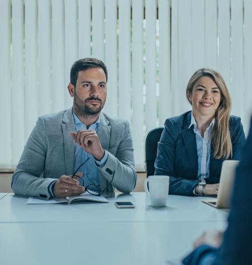 working team in job interview